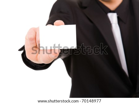 hand of businessman offering businesscard