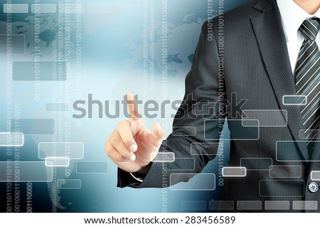 Hand of businessman pointing on virtual screen, modern business concept - can montage your texts or pictures at the finger - stock photo