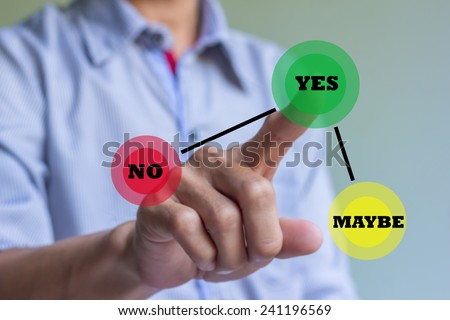 Hand of businessman press Yes button. Concept of decision making. - stock photo