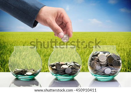 hand of businessman put coin to the bottle with blur paddy rice field background, money saving and investment concept   - stock photo