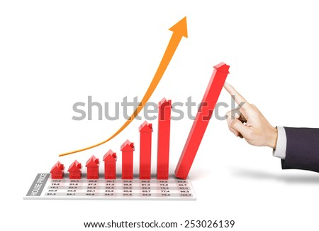 Hand of businessman supporting a 3d rendered rising chart representing the growth of real estate market - stock photo