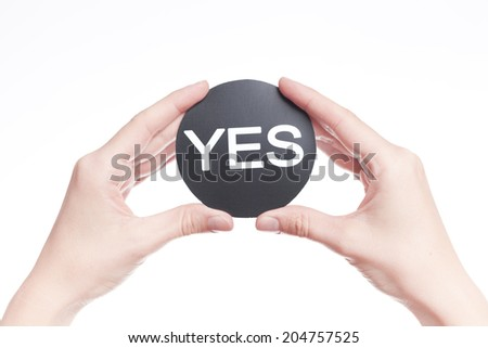 Hand of businessman weigh Concept of decision making.  - stock photo