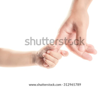 hand of child and father isolated on white background - stock photo