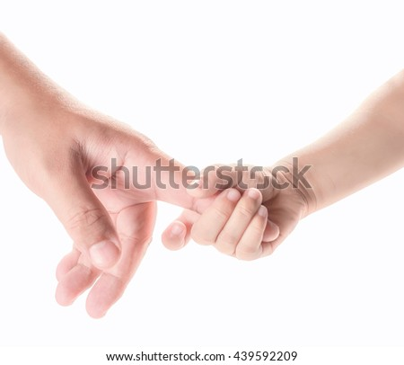 hand of child and father isolated on white background