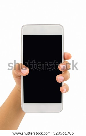 hand of children holding a modern smartphone with white background - stock photo