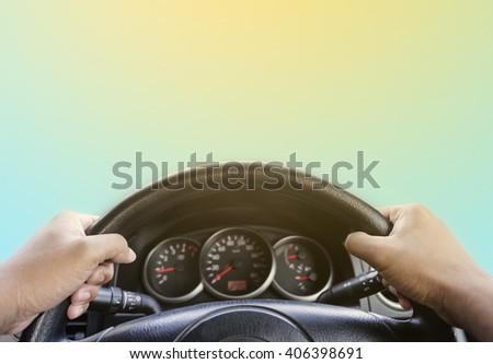 Hand of Driving inside car