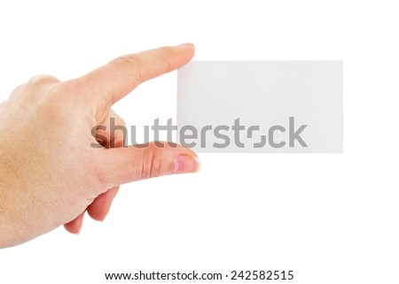 Hand of female with blank card - stock photo