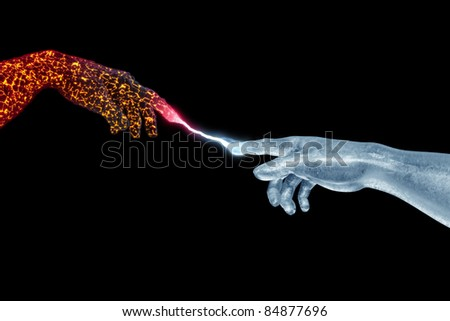 Hand of God and Adam made of fire and ice on black - stock photo