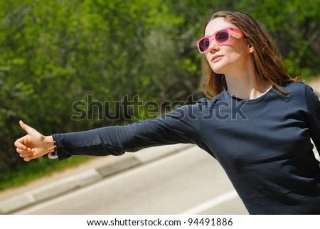 Hand of hiker - stock photo