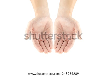 Hand of man action on isolated white background