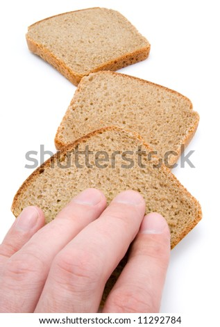 hand of man and slices of bread isolated