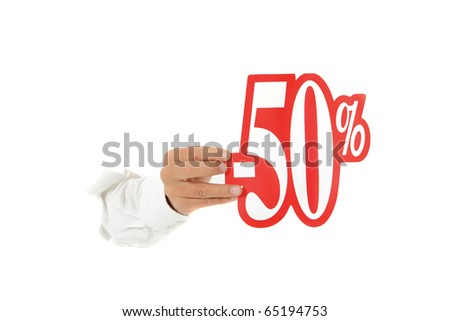 Hand of man breaking through a paper wall showing fifty percent discount sign. Copy space. Studio shot. White background.