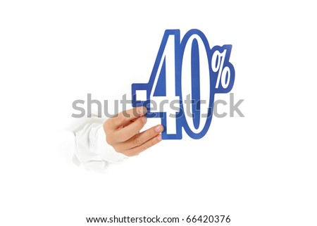 Hand of man breaking through a paper wall showing forty percent discount sign. Copy space. Studio shot. White background. - stock photo