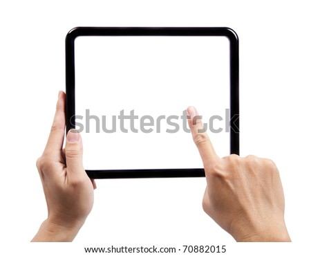Hand of man holding a black frame and finger try to touch - stock photo