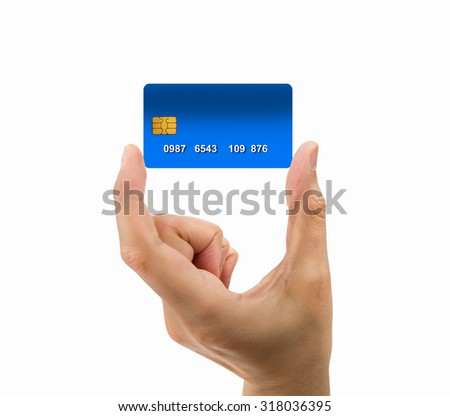hand of man holding the credit card isolated on white background - stock photo