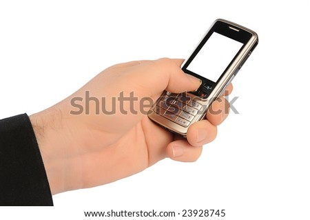 hand of man holds a mobile telephone with the white screen