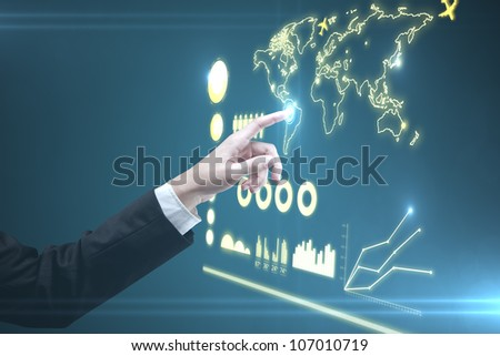 hand of man pushing interface, closeup - stock photo