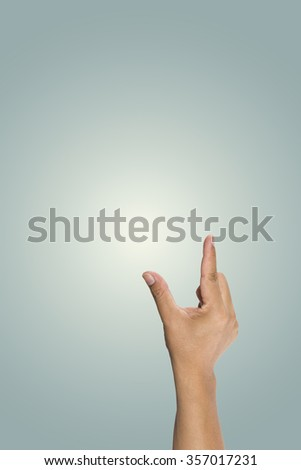 Hand of man to hold card, mobile phone, tablet PC or other isolated - stock photo
