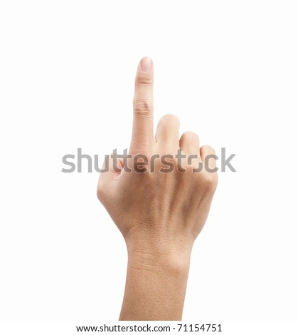 hand of man touching the screen - stock photo