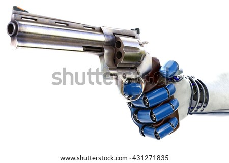 Hand of robot holding a gun. isolated on white background. 3D illustration. - stock photo