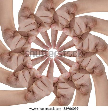 Hand of teamwork on white background - stock photo