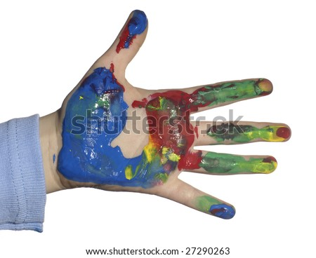 Hand of the child soiled in a paint - stock photo