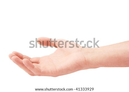 Hand of the man palm up on a white background - stock photo