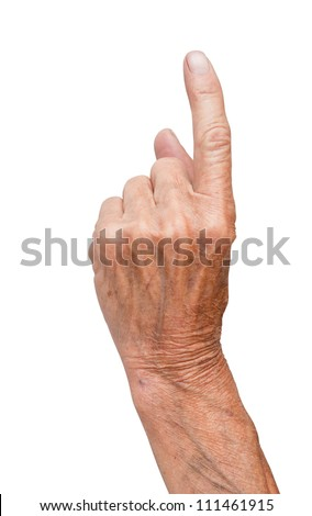 hand of the old man isolated on a white background - stock photo