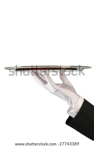 hand of the waiter in white glove with silver dish on white background with copy-space