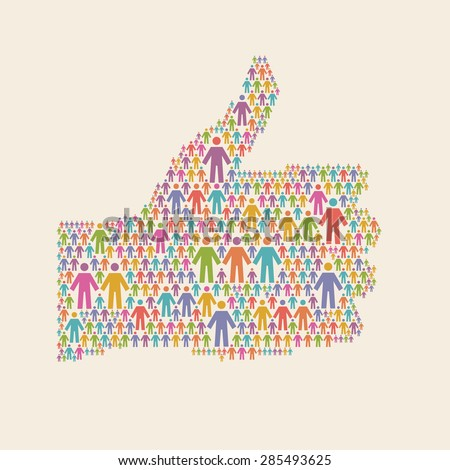 "Hand of thumbs up symbol of people colorful icon. Illustration with sign ""well"". Social media concept for web, print  - stock photo"