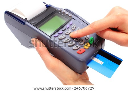 Hand of woman using payment terminal, enter personal identification number, credit card reader, finance concept - stock photo