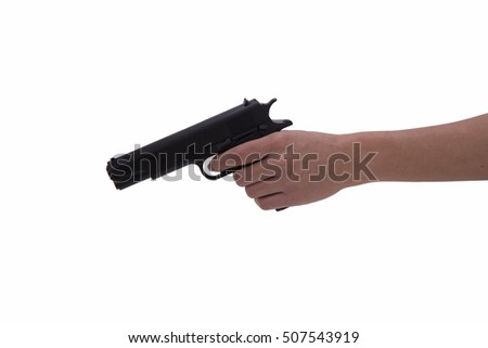 hand of woman with gun on white background