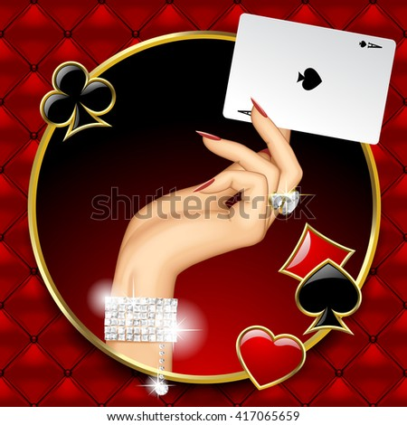 Hand of woman with jewelry holding Ace playing card in the round frame on red button-tufted leather background with suit symbols. Casino game concept design. 3D illustration - stock photo