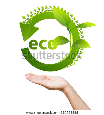 hand of women and recycle sign for green world concept - stock photo
