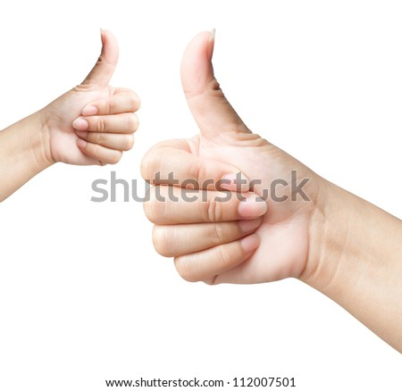 Hand of women giving like on background white - stock photo