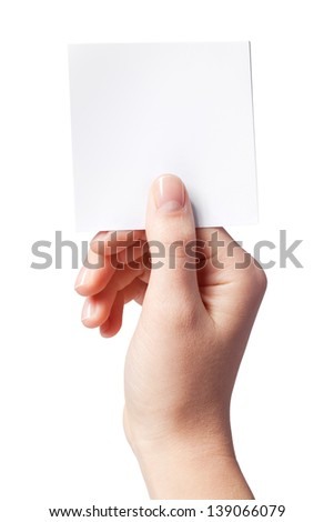 Hand of women holding blank paper label, isolated on white - stock photo