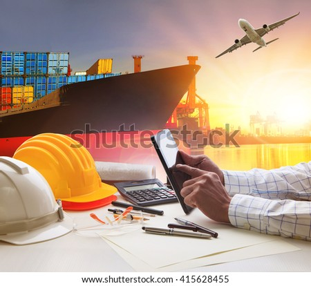 hand of working man in shipping ,logistic freight cargo transport business  - stock photo