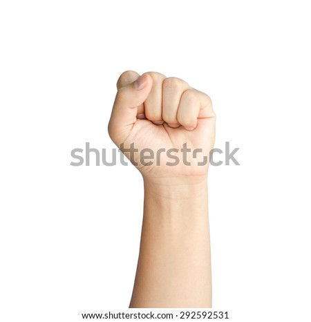 Hand of young man with clenched a fist - isolated on a white background with clipping path - stock photo