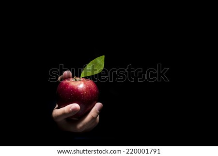 Hand offering a red apple on a black background.  - stock photo