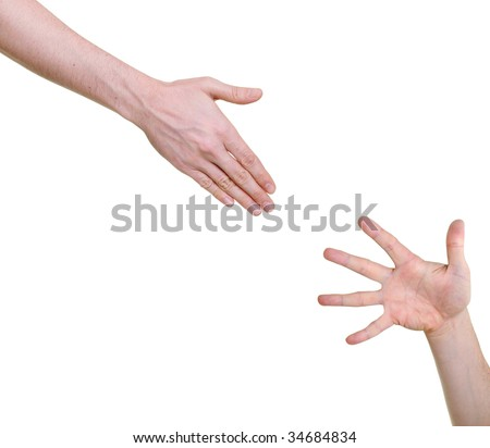 Hand offering help for other isolated on white background - stock photo