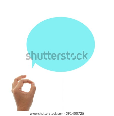 Hand OK sign and opening speech isolated on white background - stock photo