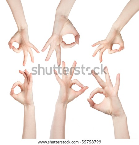 Hand OK sign isolated on white - stock photo
