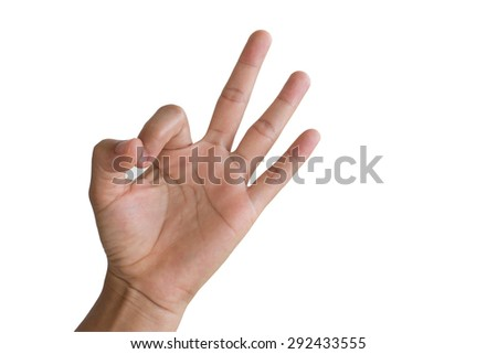 Hand OK sign on white background. - stock photo