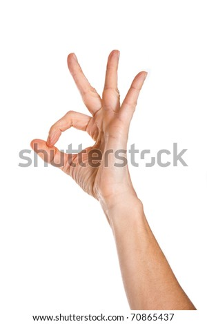 Hand OK sign on white background. - stock photo