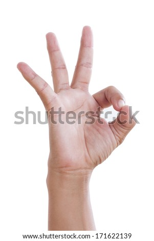 Hand OK sign on white background. with using path