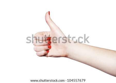 Hand OK sign over isolated background