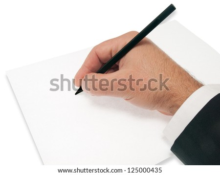hand on blank sheet hold pencil