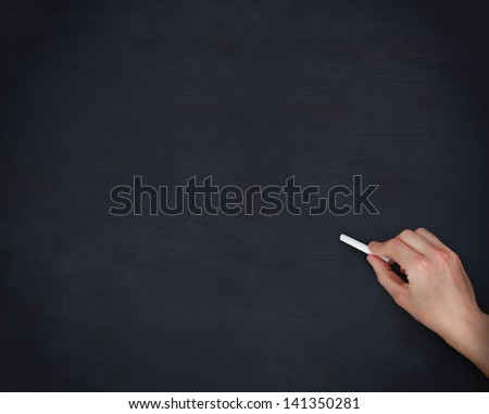 Hand on chalkboard holding a chalk
