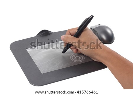 hand on graphic tablet. Isolated on white