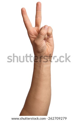 Hand on Isolated white background. Alpha. Victory. Two fingers 2 - stock photo